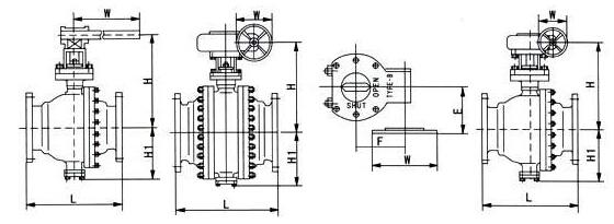 Q347 型PN16、PN25 偏心半球阀结构图