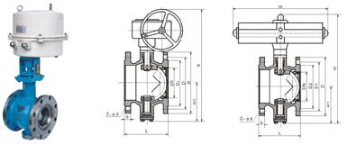 供应山东阀门 qv347,qv647,qv947 v型调节球阀 dn25-300图片