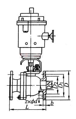 Q941Y 型 PN16~PN63 浮动硬密封电动球阀结构图