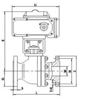 Q941F 型 PN16~PN63 浮动软密封电动球阀结构图