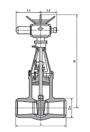 Z561Y压力自紧密封阀盖齿轮传动铸钢闸阀结构图
