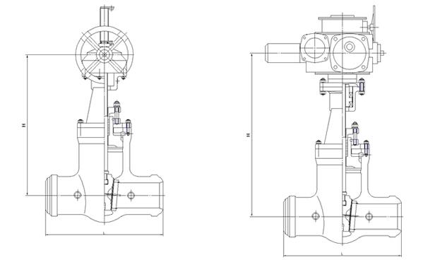 高压焊接电动闸阀结构图