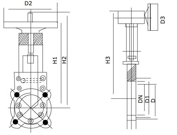 PZ7-3F/6H/9Y刀型闸阀结构图