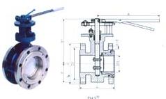ANSI美标法兰连接金属硬密封蝶阀 D43H-150LB结构图