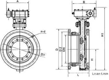 SD343H-10C伸缩型金属密封蝶阀结构图
