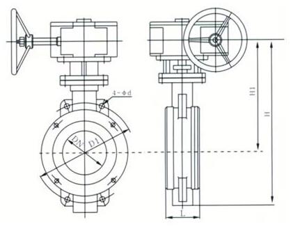D373H、D373Y 型对夹式硬密封蝶阀结构图