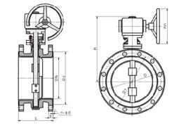 D341F4-10 型蜗杆传动衬氟蝶阀结构图