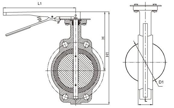 D71X-10手动蝶阀结构图