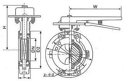 D71F4-10手动蝶阀结构图
