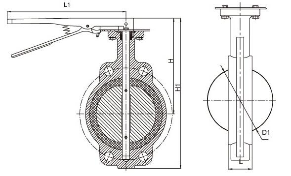 d371x-10/16美标对夹式蝶阀结构图