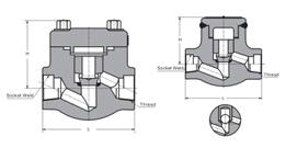 ANSI、API、JIS、ISO、BS锻钢止回阀H14H结构图