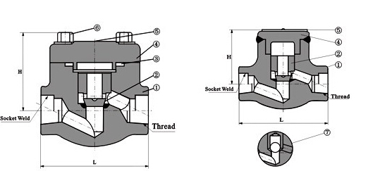 H11H内螺纹升降式锻钢止回阀结构图