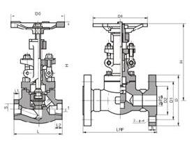 J41H-150LB美标铸钢截止阀结构图