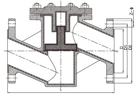 H41F4-10/16、H41F46-10/16衬氟止回阀结构图片