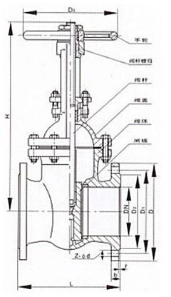 RKGX弹性座封闸阀的结构图