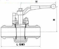 X43F美标夹套软密封旋塞阀产品外形及结构尺寸示意图