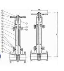 美标波纹管闸阀结构图