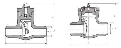 H64H压力自紧密封锻钢旋启式止回阀结构图片