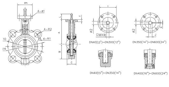 d71x-10/16对夹式蝶阀安装与结构图_阀门知识-福建省