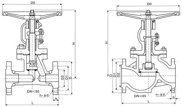 JU40HX-16G 型柱塞截止阀结构图