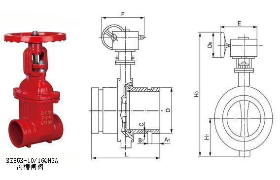 沟槽闸阀用途与结构图图片