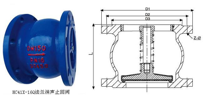 HC41X-16Q法兰消声止回阀结构图