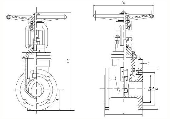 明杆闸阀结构图
