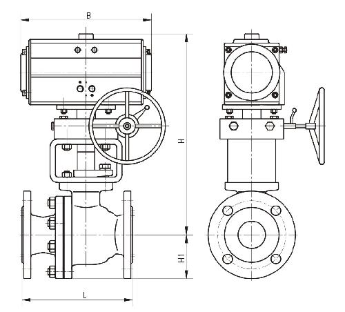 气动衬氟球阀结构图