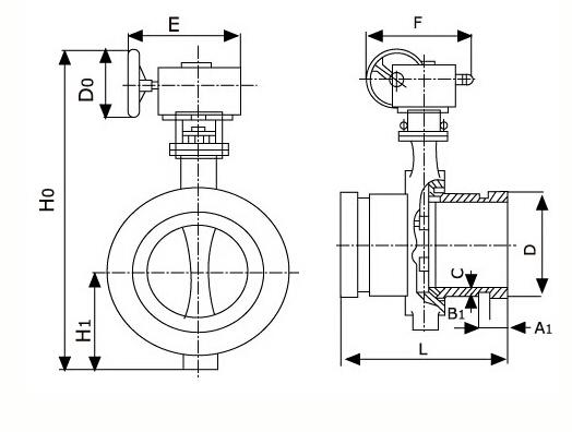 沟槽蝶阀结构图