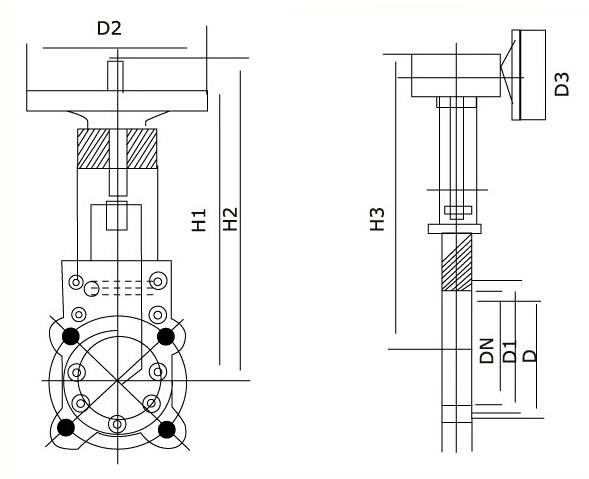 暗杆刀型闸阀结构图