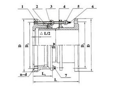 VSSJA-2型双法兰式限位伸缩接头结构图